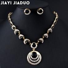 jiayijiaduo Fashion Wedding jewelry set gold-color women Round Pendant  Necklace Earrings black dress accessories Drop shipping