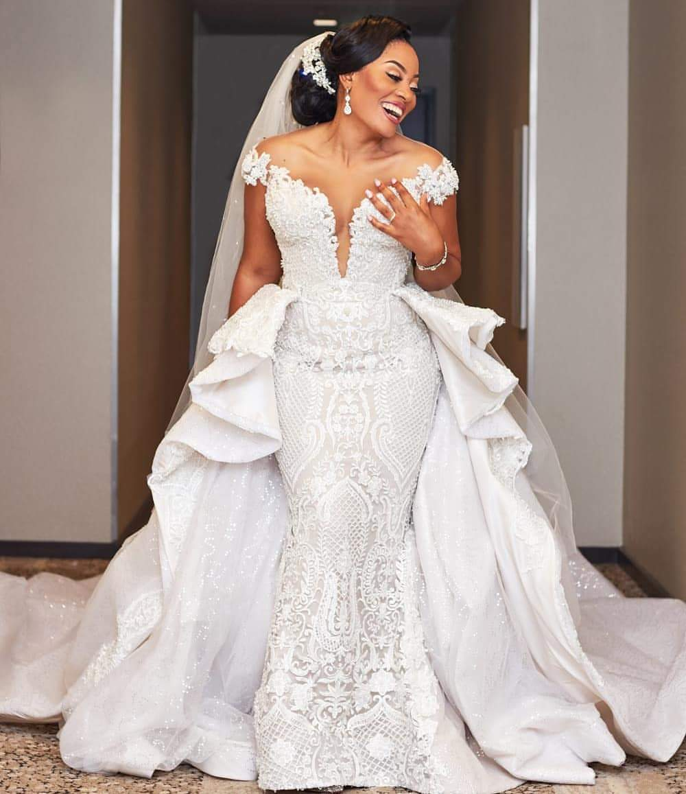 Luxury Plus Size Mermaid African Wedding Dresses With Overskirts