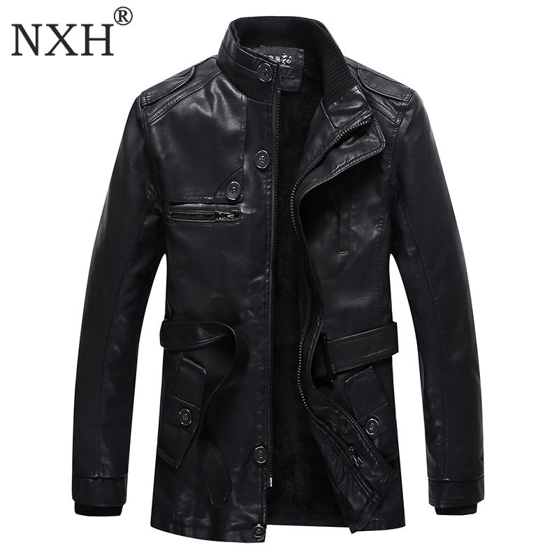 NXH 2017 New arrival Men's winter PU Leather Jacket Lining Fur Warm men Overcoat Male Casual Black coat Brand Quality M-3XL