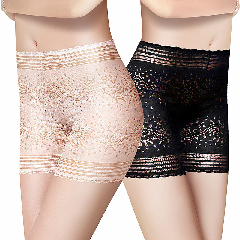 QA056 Jacquard hollow out lace safe   panties   women high waist seamless boyshorts female sexy underwear