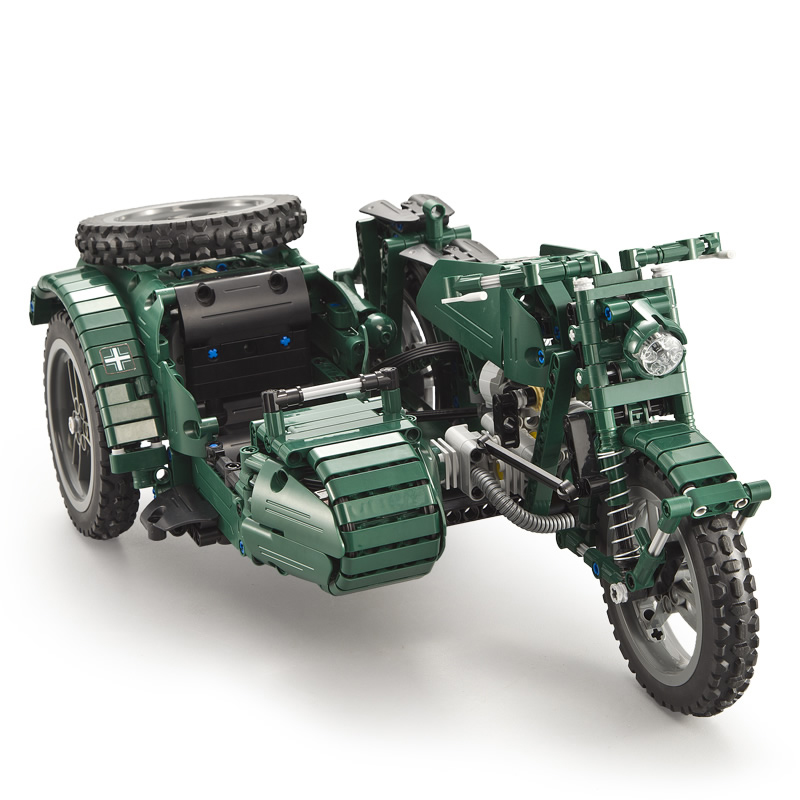 Military technology motorcycle remote control model remotely control building blocks toys World War II building blocks
