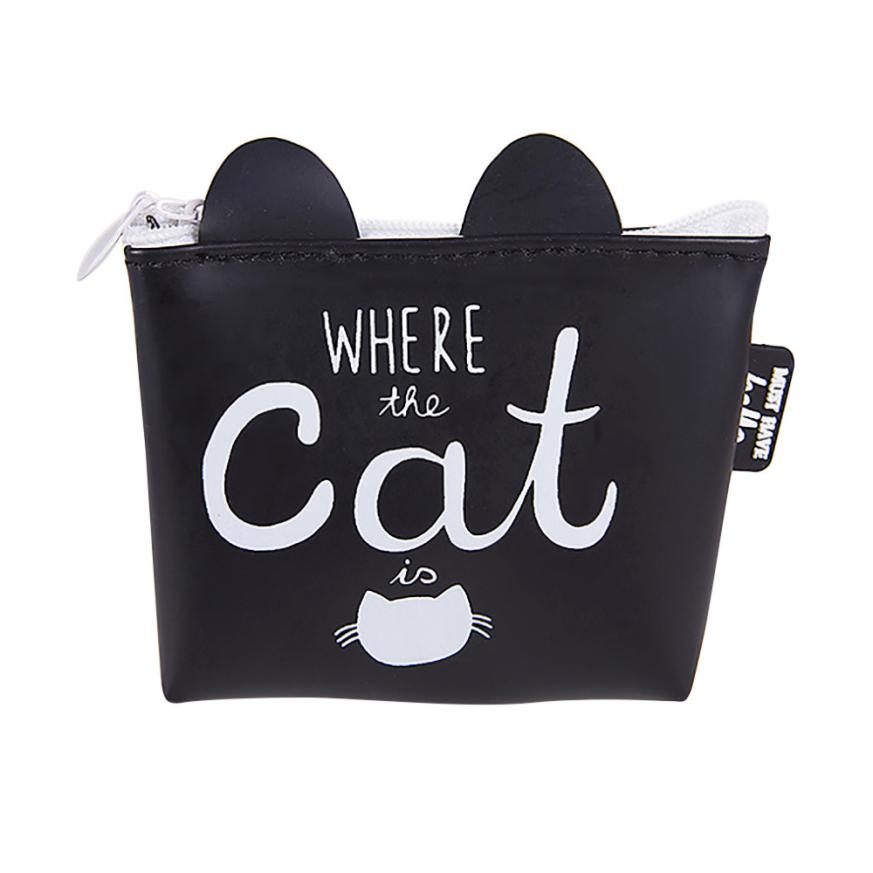 Women's Wallet Ladies Coin Purse Cute Cat Handbags Card Holder Women Girls Bags Small Handbag Tote Designer Carteira 2017 New new cute hello kitty handbag pink red girls purse cartoon cat coin bag ladies keychain wallets zipper key holder cash case