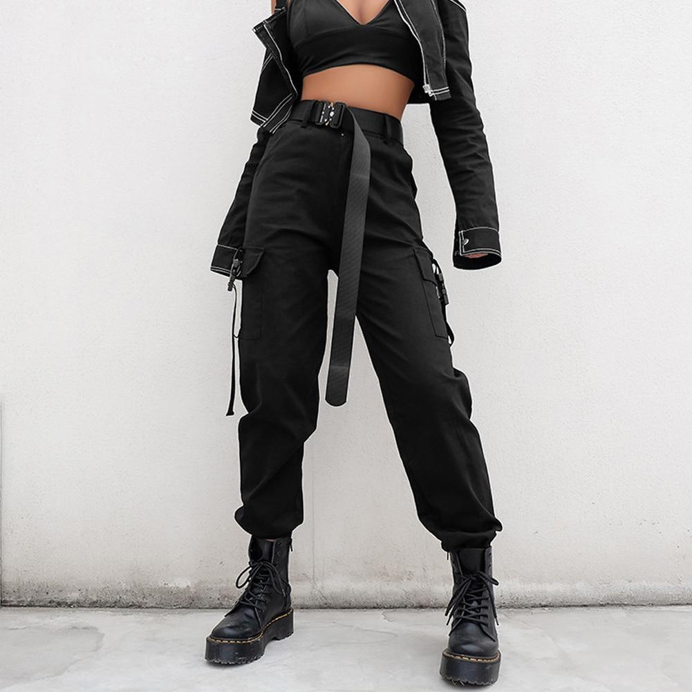 XUANCOOL Streetwear Cargo Pants Women Casual Joggers High Waist Loose Female Trousers Korean Style Ladies Pants Pantalon Femme