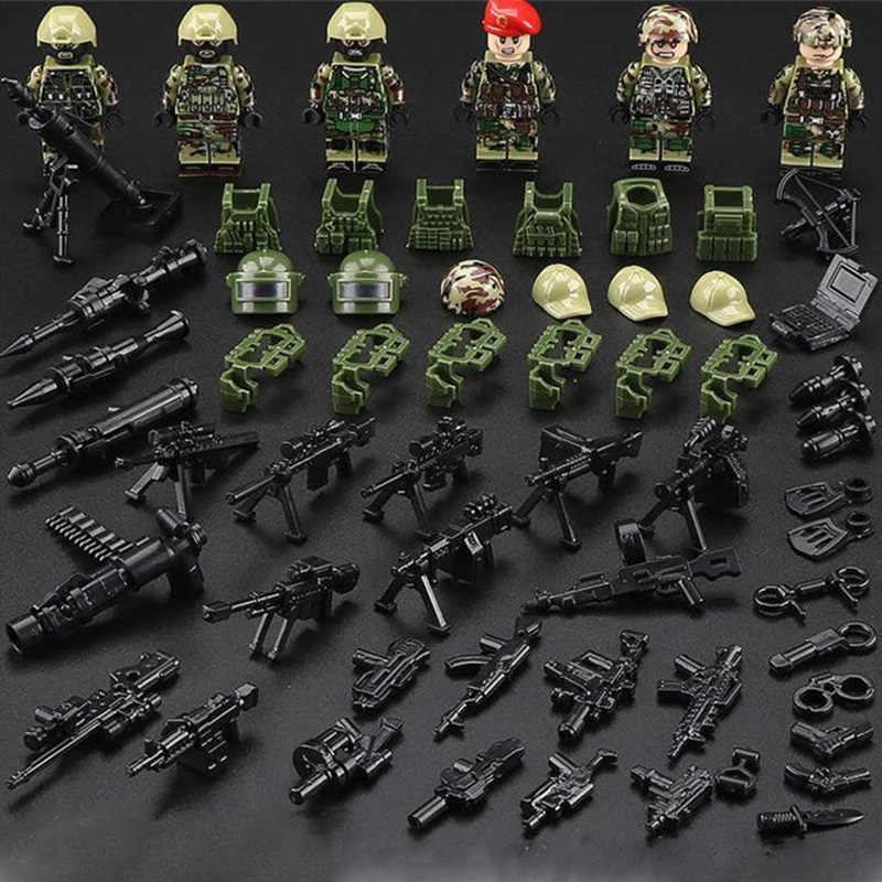 6pcs New Legoinglys MILITARY minifigured Russian Alpha Force SWAT Army Camouflage Soldier Building Blocks Brick Figure Toys Gift