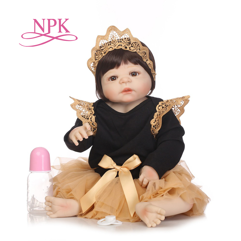 finest selection cd938 337ce US $46.8 61% OFF|NPK Full Vinyl Silicone Reborn Baby Doll Toys Lifelike  Baby Reborn Princess Doll Child Birthday Xmas Gift-in Dolls from Toys & ...