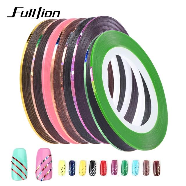 10 unid/set mezcla colores nail rolls striping Cintas línea DIY ...