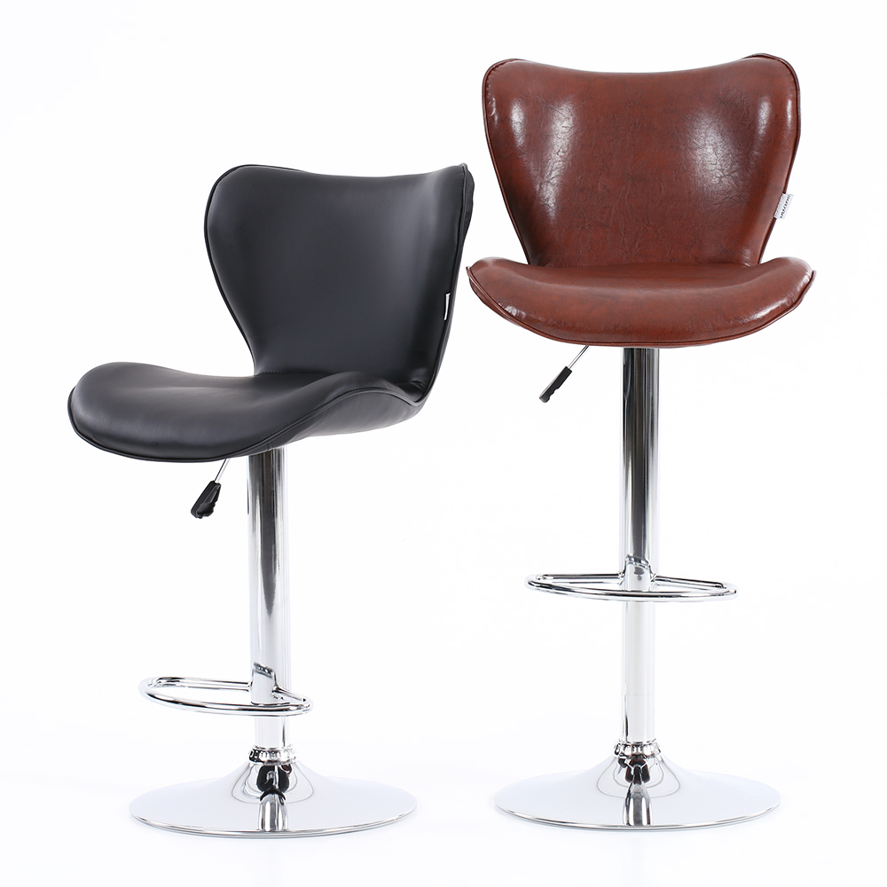 Amazing IKayaa 2PCS PU Leather Swivel Bar Chairs Height Adjustable Pneumatic  Counter Pub Chair Bar Furniture US FR DE Stock In Bar Chairs From Furniture  On ...