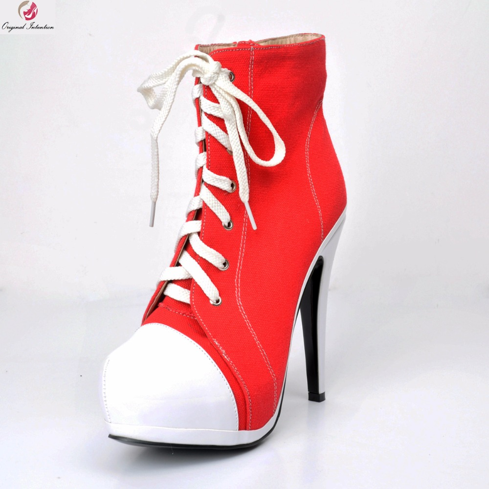 Original Intention Women New Fashion Ankle Boots Platform Popular Round Toe Thin Heels Boots Red Shoes Woman Plus US Size 4-15 видеоигра для ps4 mortal kombat x