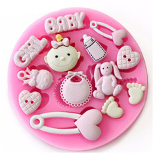 4YANG Baby Shower Party 3D Silicone Fondant Mold for Cake Decorating Sugar Craft Moulds Tools