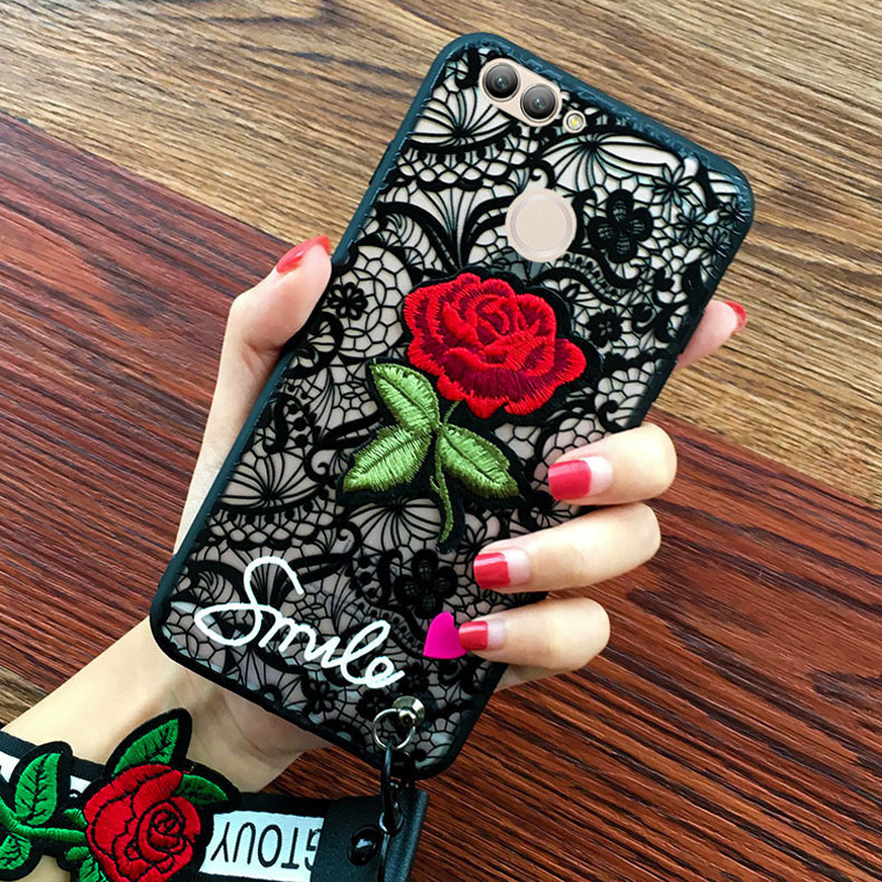 Pretty Lace Case for Huawei P Smart Cover PC Hard Case Embroidered Rose ...
