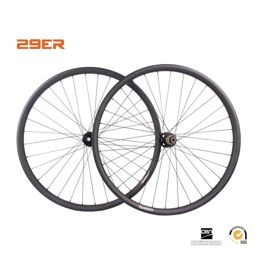 29ER MTB колесных углерода диск колеса 35 мм ширина цикл обод довод hookless бескамерная 29