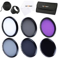 K&F CONCEPT UV FLD CPL ND2 ND4 ND8 Filter Lens Kit for Canon Nikon Sony 52MM 55MM 58MM 62MM 67MM 72MM 77MM Camera Polarizer