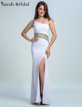 One Shoulder Sexy Slit Prom Dresses Party Gowns Women Dresses for Party Lycra White Pegeant Dresses Crystals Real Pic LX082