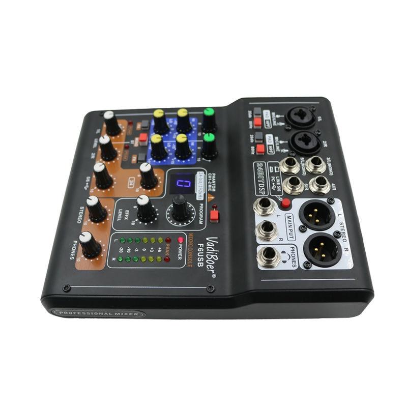 Vadiboer F6 Professional 6 Kanalen Mixer Console Met Bluetoot Effect - Draagbare audio en video - Foto 3