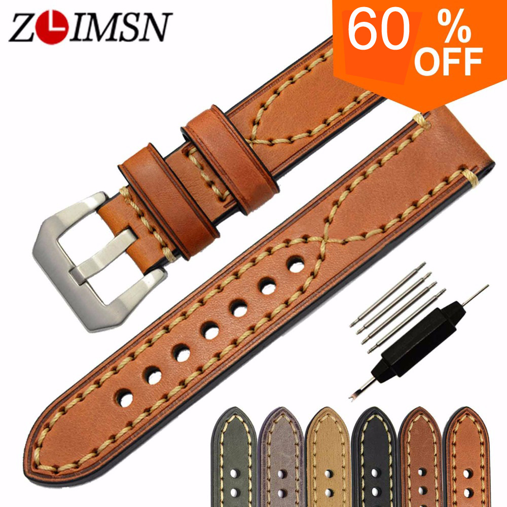 ZLIMSN Genuine Leather Watchbands Men Women Italy Watch Band Strap for Panerai Belt Stainless Steel Buckle 20 22 24 26mm relogio zlimsn high quality thick genuine leather watchbands 20 22 24 26mm brown watch strap 316l brushed silver stainless steel buckle