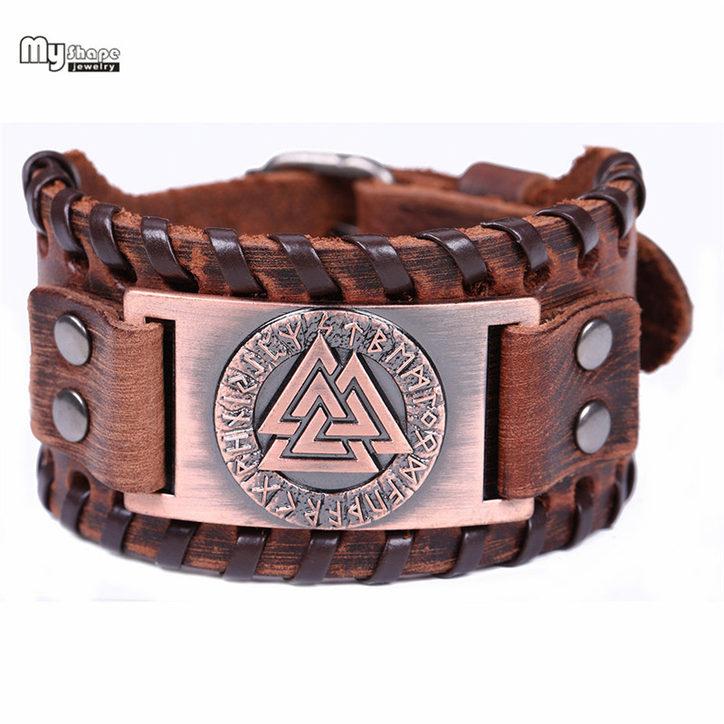 My Shape Slavic Norway Valknut Amulet Leather Bracelets Bangles Metal Engraved Scandinavian Viking Nordic Runes Bracelet Men