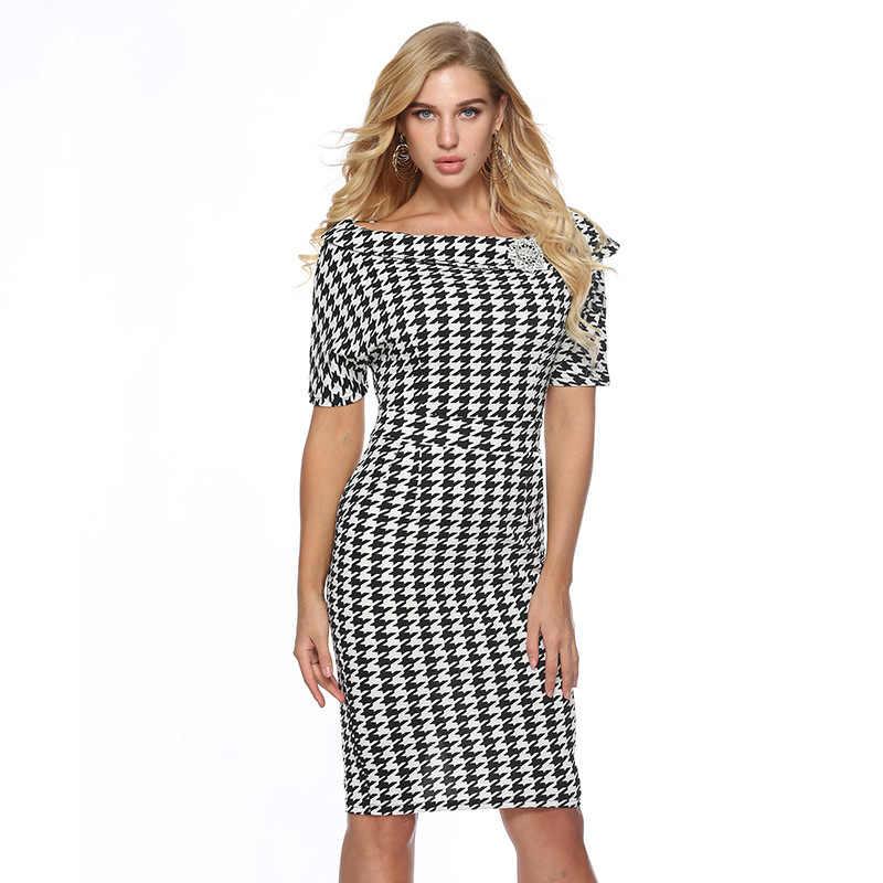 Houndstooth Bodycon Đầm Plus size nữ mùa hè 2019 phù hợp Đầm công sở có chuốt nữ công sở phối A2425