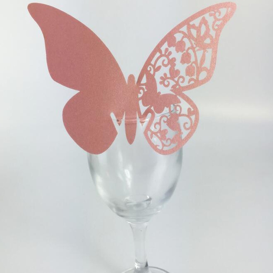 50pcs Wedding Place Cards for Wine Glass Laser Cut Butterfly Wedding ...