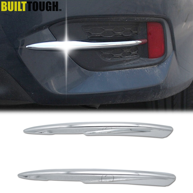 For Honda Civic Chrome Rear Fog Light Lamp Eyebrow Bumper Lid Eyelid Trim on Honda Civic Bumper Replacement
