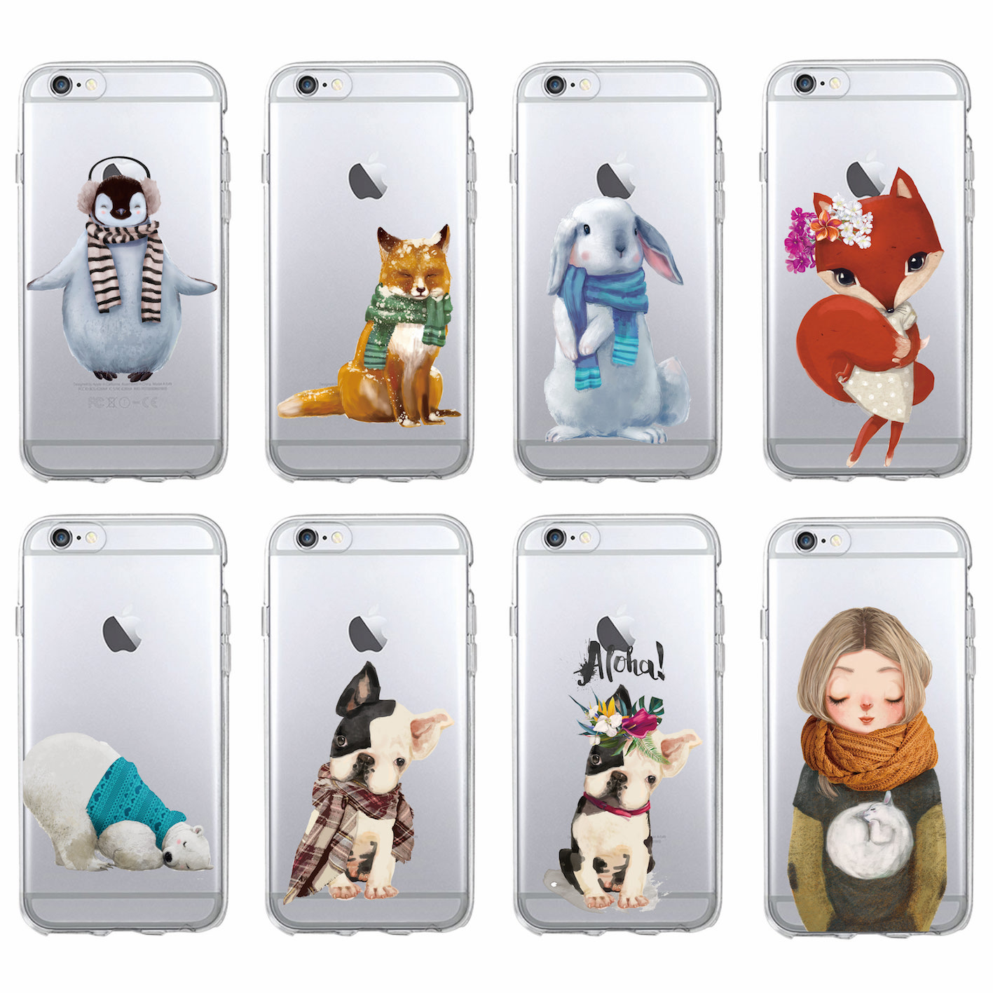 Warm Winter Bunny Fox Bulldog Penguin Polar Bear Soft Phone Case Coque Fundas For iPhone 7 7Plus 6 6S 6Plus 8 8Plus X SAMSUNG