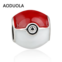 6pcs a lot Poke Ball Silver Plated Pokeball Pokemon Go Red Enamel Beads DIY Spacer Bead Charm Fit For Pandora Charms Bracelet