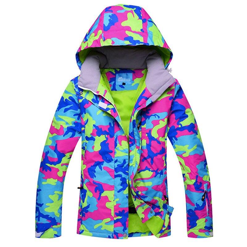 Новинка, хит, лыжная куртка для женщин, лыжный костюм, Зимний водонепроницаемый дешевый лыжный костюм, для улицы, кемпинга, Женское пальто, 2019, одежда для сноуборда, камуфляж
