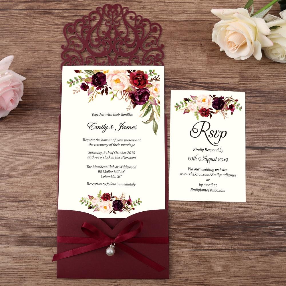 100pcs Burgundy New Arrival Horizontal Laser Cut Wedding Invitations with RSVP card pearl ribbon Customizable