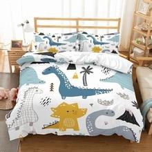 Мальчик мультфильм Динозавр набор постельного белья синий/серый/желтый динозавры деревья вулканы печатных белый пододеяльник комплект из 3 предметов с 2 наволочки
