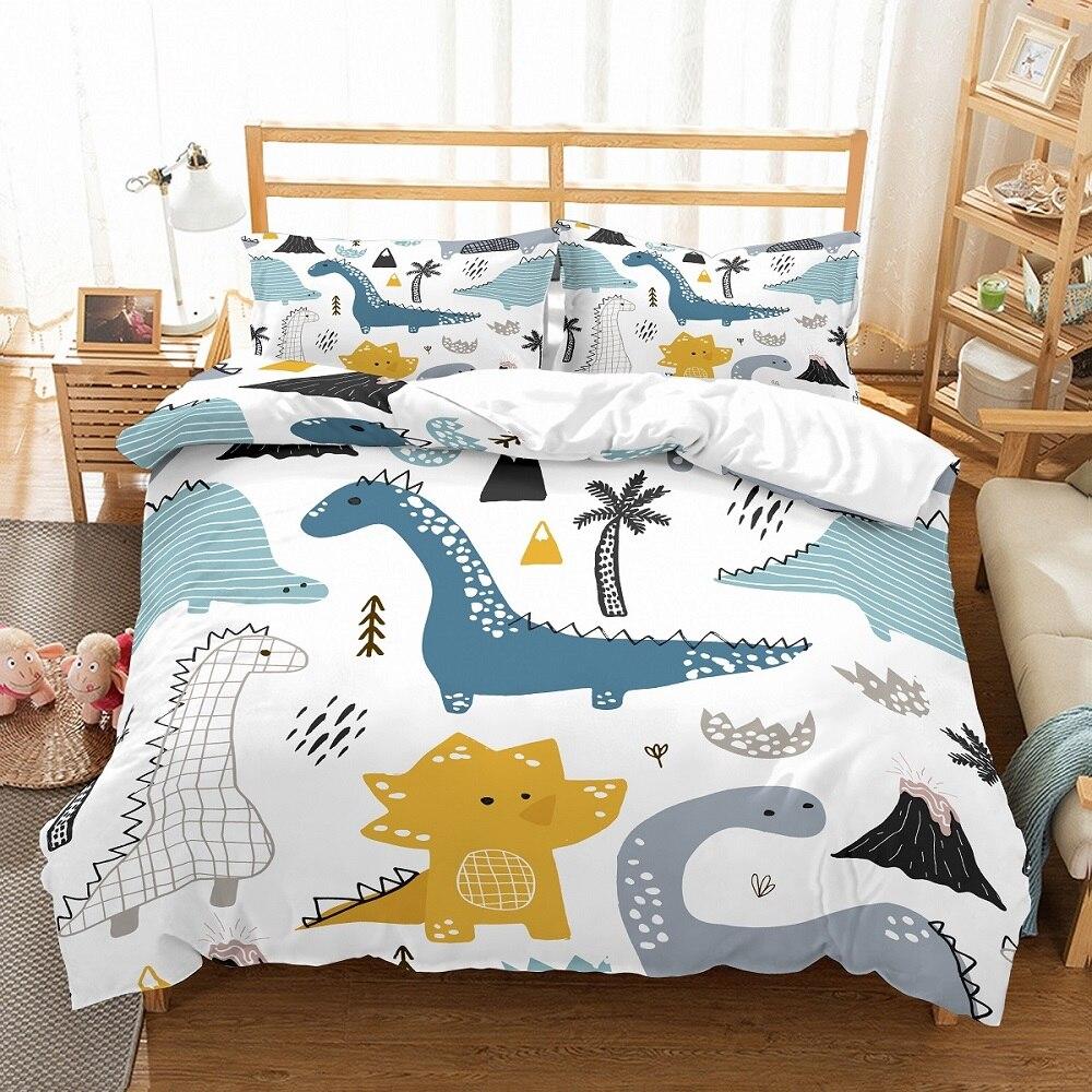 Boys Cartoon Dinosaur Family Bedding Set Twin Full Queen King Size Bedclothes Duvet Cover Set 2/3PCS Bed Linen Set No Filling