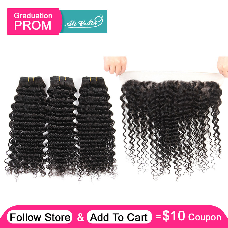 Ali Grace Hair 3 Bundles Brazilian Deep Wave With Frontal 13 4 Free Middle Part Ear