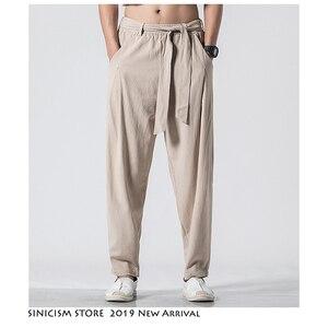 Sinicism Store Hip Hop pantalones de Joggers 2020 hombres chinos sueltos Vintage pantalones masculinos de lino de algodón Streetwear 5XL