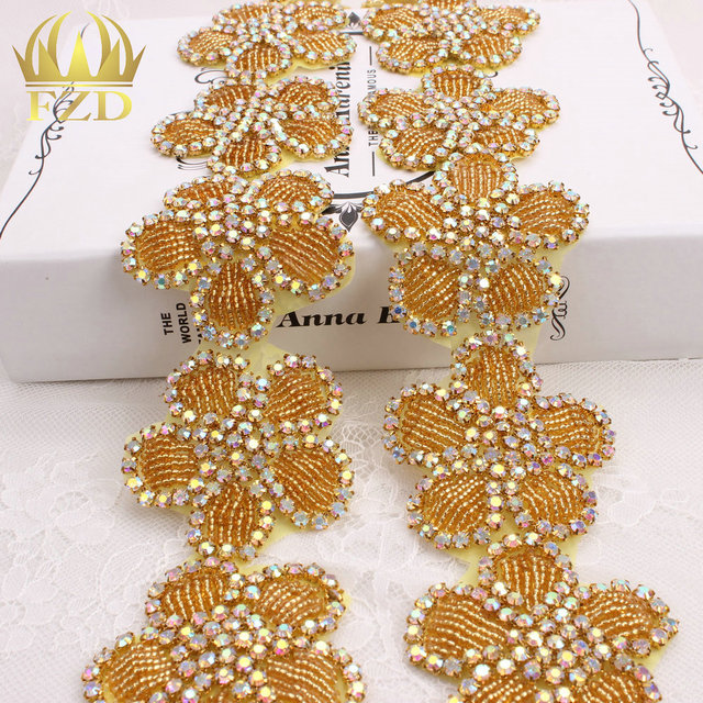 (10yards) Wholesale 1 Yard Handmade Hot Fix Sew on Gold Beaded AB Rhinestone  Appliques 20d4e5b6ebdd