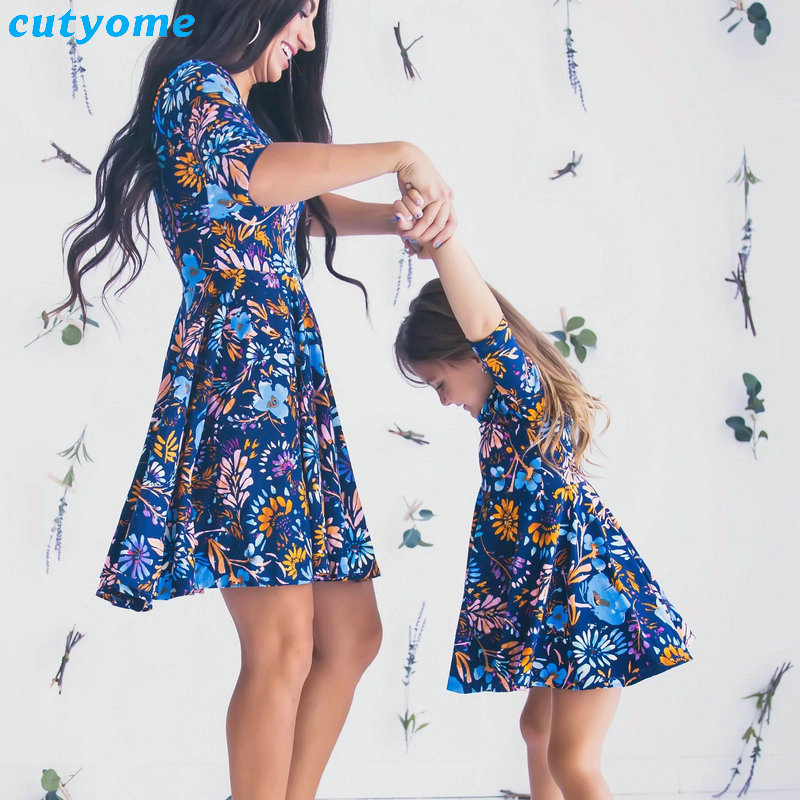 Mother Daughter Dresses Floral Print Half Sleeve Mini Dress Mother And Daughter Clothes Mom And Daughter Dress Matching Outfits