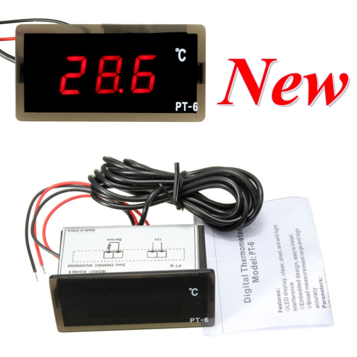 Car Vehicle Red LED Digital Thermometer Temperature Meter Probe 12V -40-110 Universal 0 56 red blue dual display digital led thermometer temperature meter waterproof metal probe sensor module 20 100 celsius