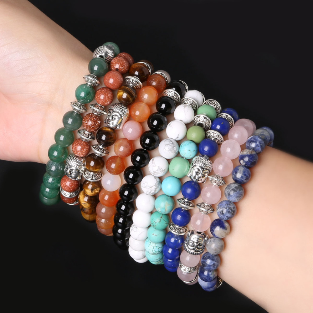 stone beads bracelets bracelet rope item buddha from in charm ancient elastic silver natural singles bracelt
