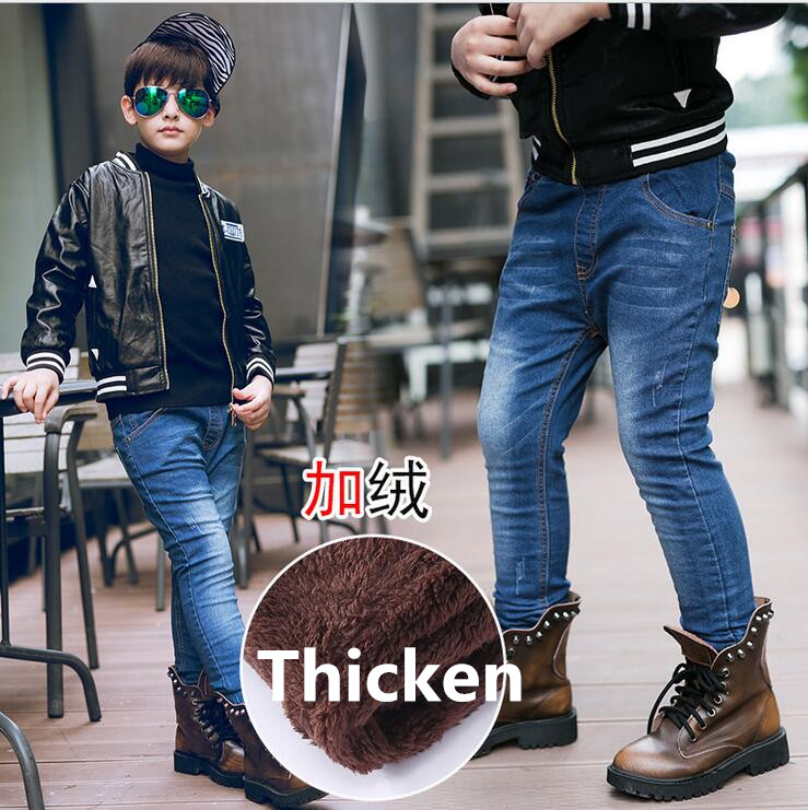 2017 winter new fashion boys jeans warm lining children casual pants male kids jeans warm fleece boy denim pants skinny jeans 2018 newly fashion men s jeans high quality skinny fit ripped jeans men elastic punk pants hip hop white stripe printed jeans