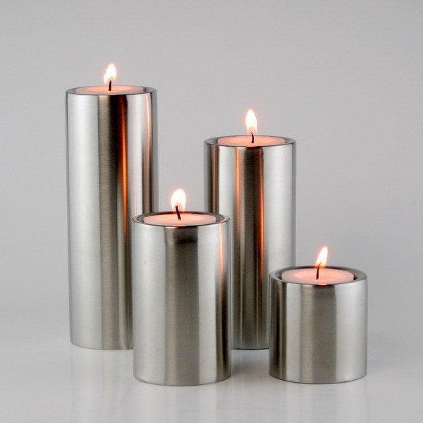 Candle Holders 4pcs/set free shipping home hotel decoration Stainless steel cylindrical