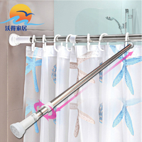 Shuangqing Stainless Steel Retractable Shower Curtain Rod Straight Bathroom Jackstay Retractable Pole Punch Rods