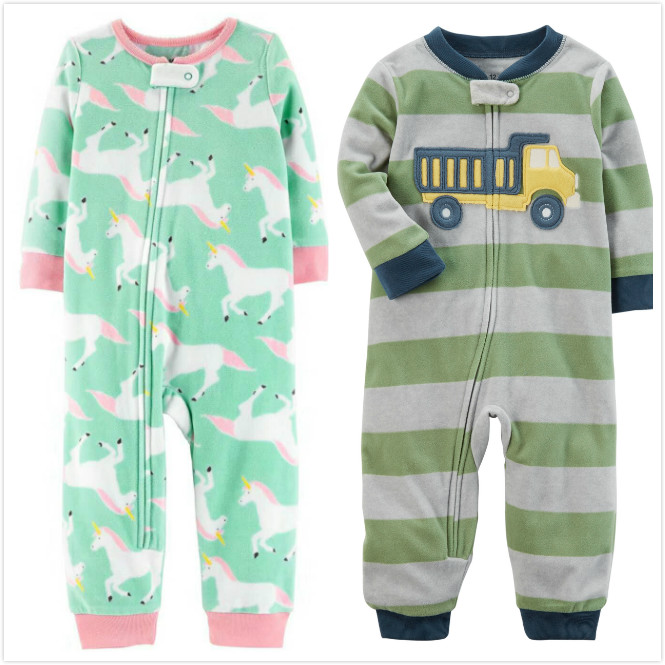 Baby clothes unicorn fleece bebes jumpsuit winter pajamas infants baby boys clothing toddler baby girl   rompers   high collar 9-24m