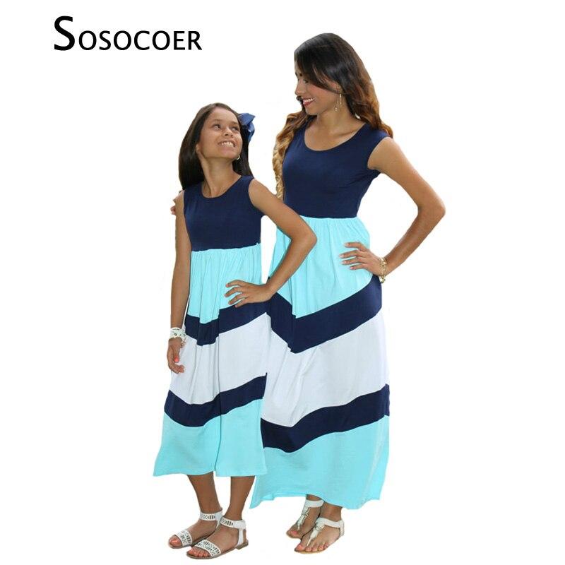 SOSOCOER одинаковые платья для мамы и дочки в полоску без рукавов для мамы и дочки летнее платье одежда для мамы и дочки семейная одежда ...