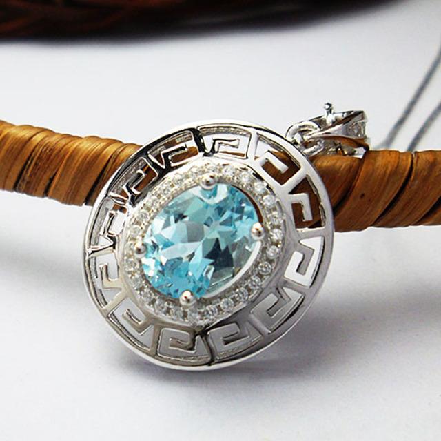 Gorgeous plata topacio piedra colgante 2.4ct 7*9mm de calidad SUPERIOR sólida plata de ley 925 collar de piedras preciosas topacio naturales colgante
