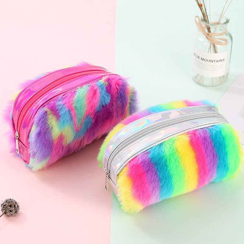 Saco de cosmética para mulheres do unicórnio do arco de pelúcia saco do lápis estudante de grande capacidade de armazenamento saco senhoras bolsa de pelúcia BM-CM -dlwmch