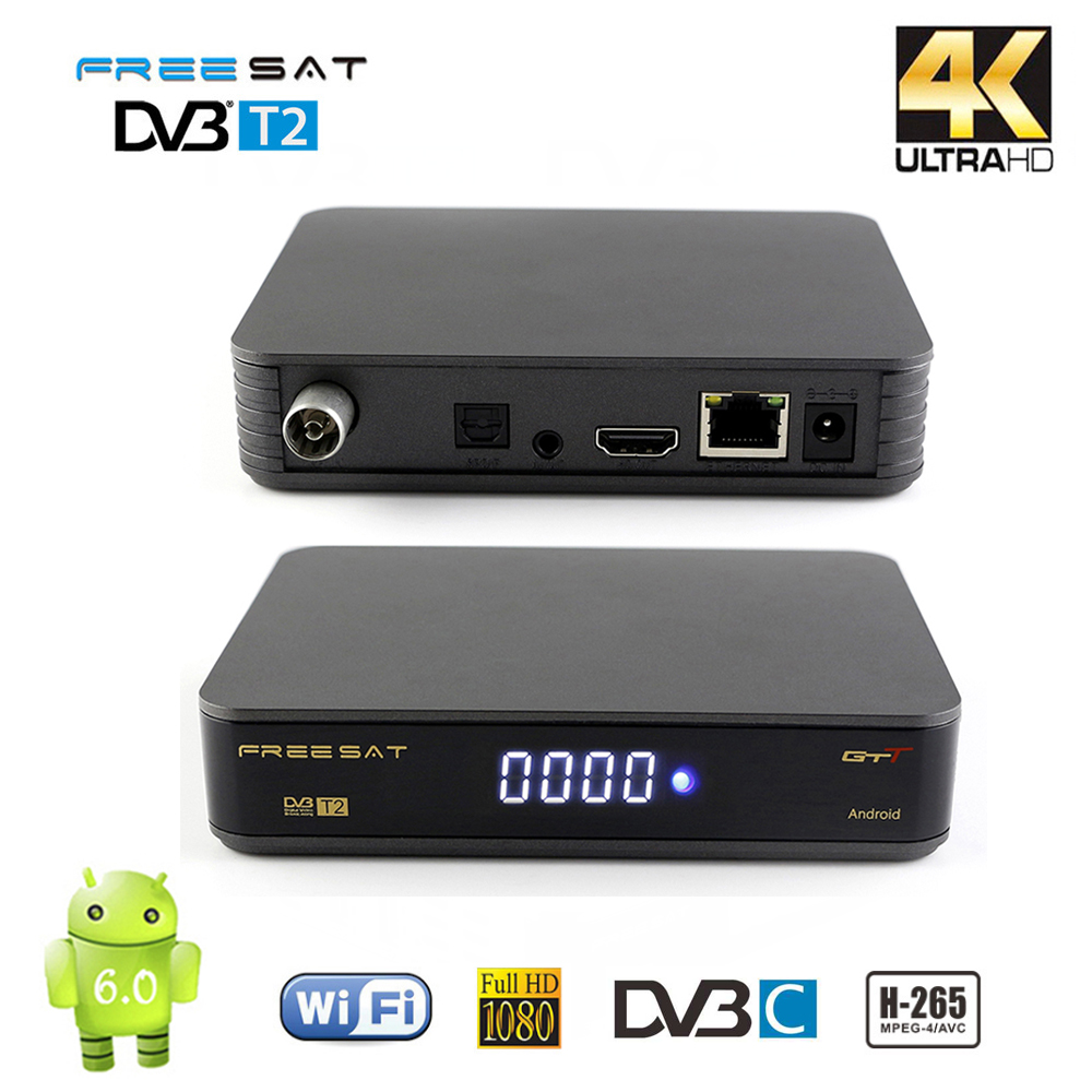 Freesat Android TV Box 6.0 GTT DVB-T2 DVB-C Smart TV Box Amlogic S905D 1GB/8GB ROM DVB T2 H.265 2.4G WIFI HD 4K TV Media Player [genuine] freesat v8 golden dvb s2 t2 c satellite tv combo receiver support powervu biss key cccamd newcamd n usb wifi optional