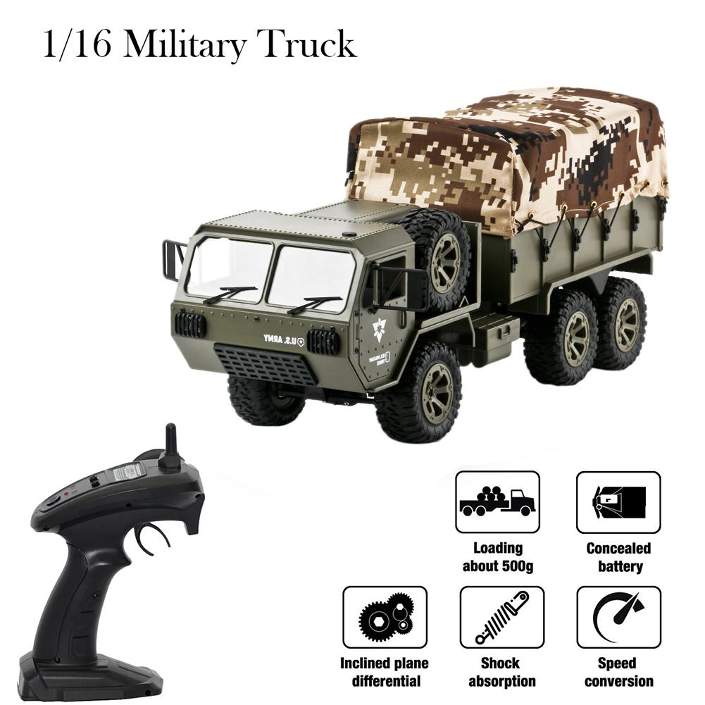 1:16 2.4G Six-<font><b>wheel</b></font> Drive Pickup US Army Military <font><b>Truck</b></font> Model With Tent Remote Control Toy Car Children's Beautiful Toy Gift image