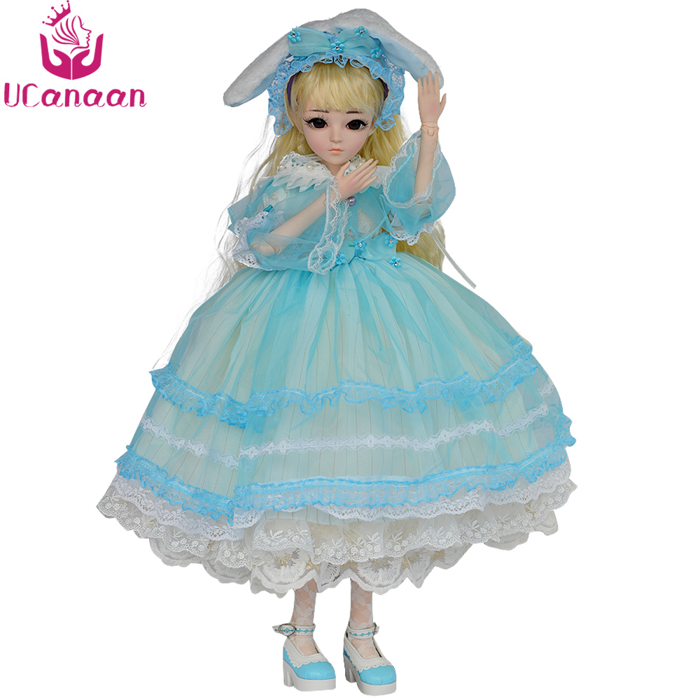 Ucanaan BJD Doll 1/3 18 Ball Jointed Dolls Princess Doll With Dress Rabbit Hat Wig Makeup Girls Dressup Toys for Collection disney princess brass key 2003 holiday collection porcelain doll snow white