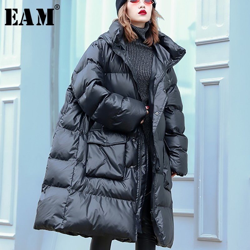 [EAM] 2019 New Spring Winter Stand Collar Long Sleeve Black Big Pocket Large Size Cotton-padded Coat Women   Parkas   Fashion JL034