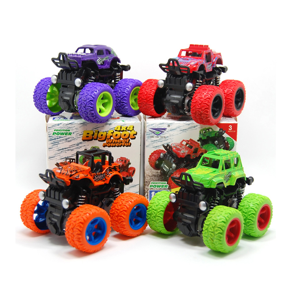 Anti Shock Inertia Vehicles Friction Powered Toys Non Slip Monster Truck Easy Operate Kids 360 Degree Flipping Car Strong Grip