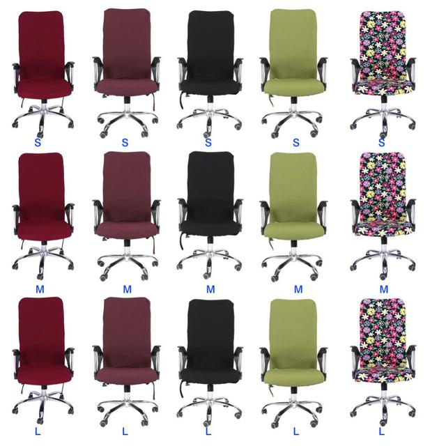 swivel chair covers pink gold s m l spandex office slipcover armrest cover computer seat stool elastic antimacassar