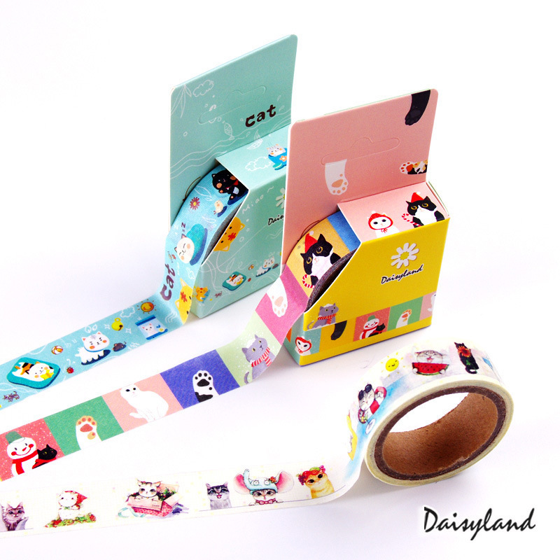 1 PCS New Cute Cat Series Color Washi Decorative Adhesive Tape DIY Masking Paper Tape Sticker Office Supplies