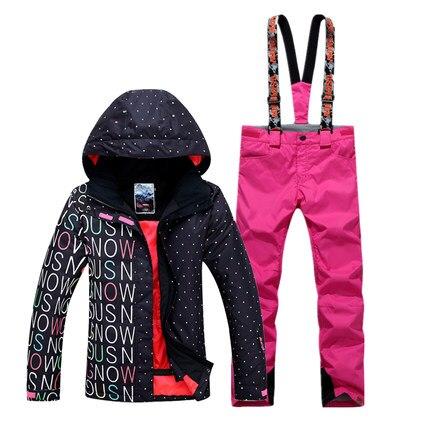 GSOU NEIGE de Femmes Étanche Double Unique Conseil Ski Costume Épais Chaud Respirant Sport Ski Veste Ski Pantalon Taille XS-L